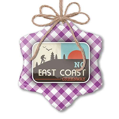 NEONBLOND Christmas Ornament US Hiking Trails East Coast Greenway - North Carolina Purple Plaid