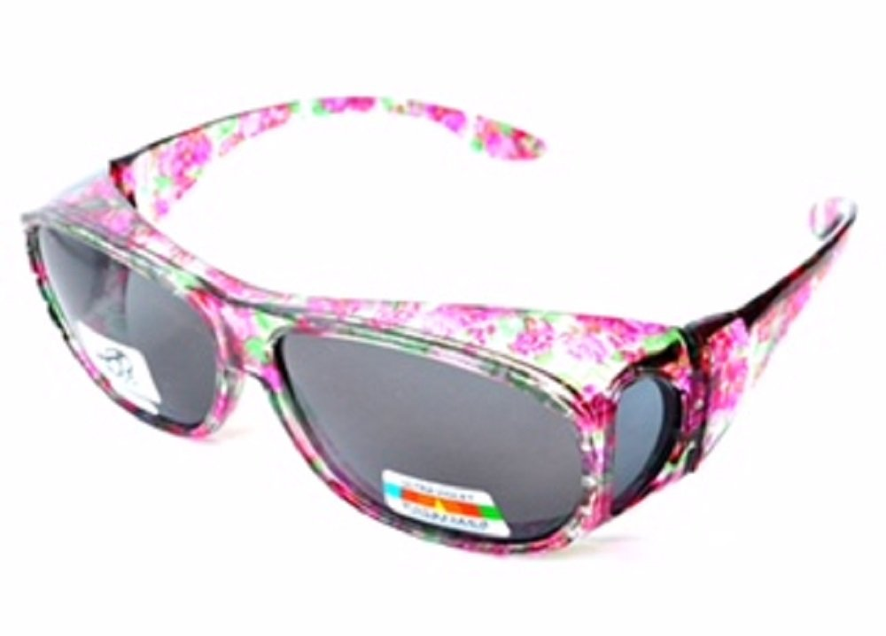 Polarized Rhinestone Sunglasses Large Fit Over Oval Rectangular - Floral