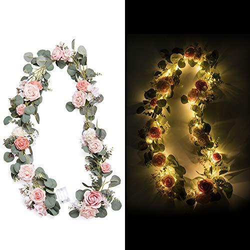 Roses Eucalyptus - Ling's moment 6.5FT Flower Table Runner Rose Eucalyptus Garland with Light for Wedding Reception Centerpiece