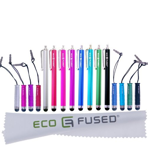 ECO-FUSED Stylus Pen Bundle - Universal - 8 Long / 8 Short - Compatible with All Capacitive Touchscreen Devices - for iPad, iPhone, Samsung Phones and Tablets, All Android Phones and Tablets and More ()