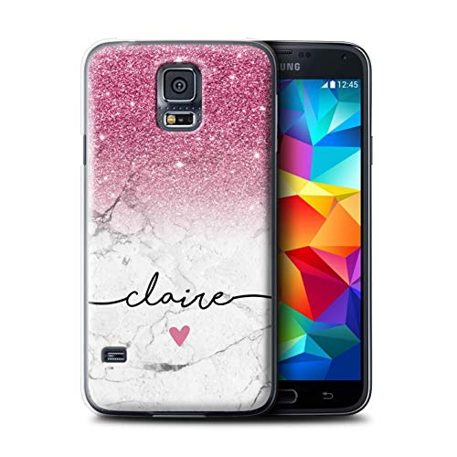 bf5959c13d4b1 Personalized Custom Handwriting Glitter Ombre Case for Samsung Galaxy S5  Neo/G903 / Pink Sparkle White Marble Design/Initial/Name/Text DIY Cover