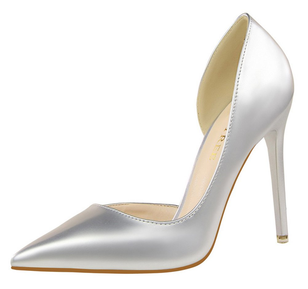 T&Mates Womens Dressy Versatile D'Orsay Stiletto High Heels Closed Pointed Toe Pumps Shoes (7.5 B(M) US,Silver)