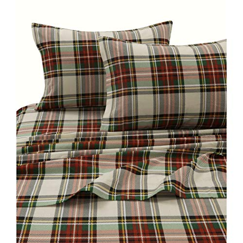 Charleston Plaid - 4 Piece Girls Charleston Plaid Red Green Yellow White Sheet King Set, Multi Color Madras Lumberjack Printed Kids Bedding Teen Bedroom, Traditional Contemporary Checkered Cabin Tartan, Cotton Flannel