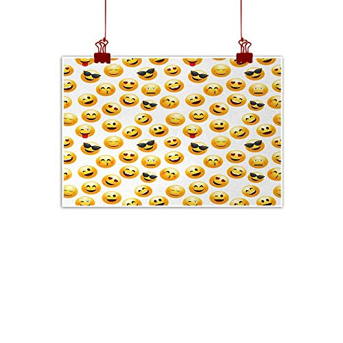 duommhome Emoji Simulation Oil Painting Smiley Face Character Illustration Feeling Happy Surprised Cool and in Love Decorations Home Decor W35 xL24 Yellow Red Black -