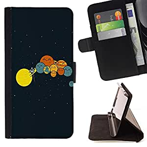 Momo Phone Case / Flip Funda de Cuero Case Cover - Solar System Arte Dibujo Ni?os Planetas Formación - Sony Xperia Z5 5.2 Inch (Not for Z5 Premium 5.5 Inch)