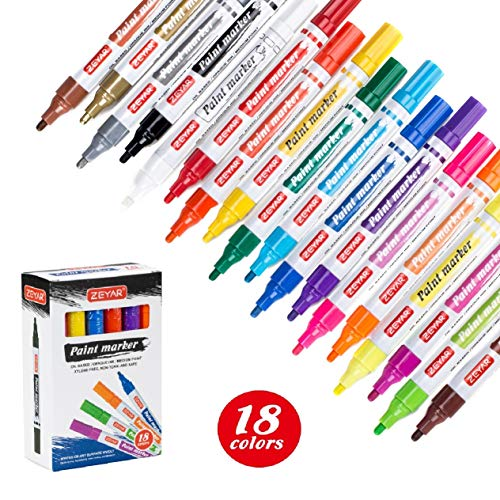 ZEYAR Art Paint Pens, Expert of Rock Painting and Tire Paint Make-up,18 Colors, Medium Point, Permanent & Waterproof Ink, Oil-Based, Great on Mug, Rock, Glass, Canvas, Metal and More