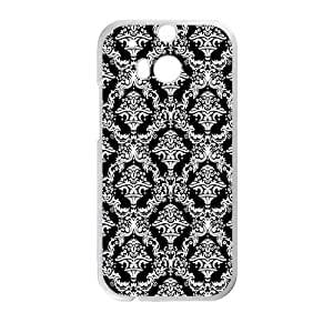 Hoomin Simple Damask Black And White HTC One M8 Cell Phone Cases Cover Popular Gifts(Laster Technology)