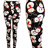 GBSELL Women Colorful Pretty Printed Stretchy Pants Leggings Sport Casual (snowmen)