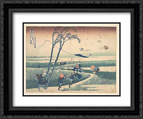 Katsushika Hokusai - 36x28 Black Ornate Frame and Double Matted Museum Art Print - Ejiri in Suruga Province (Sunshu Ejiri), from The Series Thirty-six Views of Mount Fuji (Fugaku sanjurokkei)