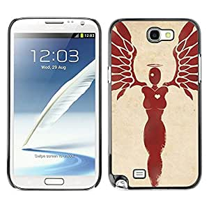 Ihec Tech El corazón del ángel de sangre Alas Plumas / Funda Case back Cover guard / for Samsung Note 2 N7100