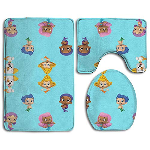 Bubble_Guppies Bathroom Rug Mats Set 3 Piece- Memory Foam Extra Soft Shower Bath Rugs ¨C Contour Mat and Lid Cover -(20