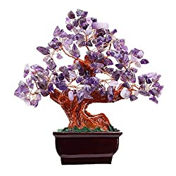Feng Shui Natural Amethyst Quartz Gem Stone Money Tree 7 Inch Purple Crystal Money Tree