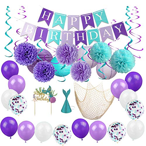 BYpamco Mermaid Party Decorations for Girls| Mermaid Party Supplies | Mermaid Banner, Mermaid Balloons, Lanterns, Fish Net, Pom Poms, Cake Toppers| Under The Sea Blue & Purple Nautical -