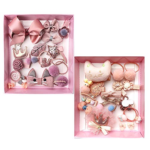 Baby Girls Hair Accessories Cute Hair Clips Ties Fully Covered Bows with Hanger Set, for Infant and Toddlers 36pcs (Korea Pink+Snow Pink)