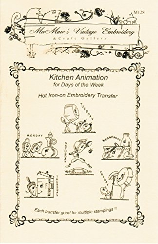 Animated Kitchen for Days of the Week Tea Towels Hot Iron Embroidery Transfers ()