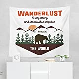 Wanderlust Quote Tapestry - Bear Nature Travel Adventure Wall Tapestries Hanging Décor Bedroom Dorm College Living Room Home Art Print Decoration Decorative - Printed in the USA - Small Medium Large