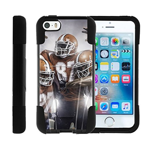 MINITURTLE Compatible with Apple iPhone SE | iPhone 5s | iPhone 5 Durable Hybrid Gel Strike Impact Cover W/Stand case USA Football Collection Football Victory
