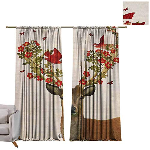 - berrly Blackout Grommet Curtains Elk's Horns Entwined with Flowers W96 x L96 Kids Blackout Curtains