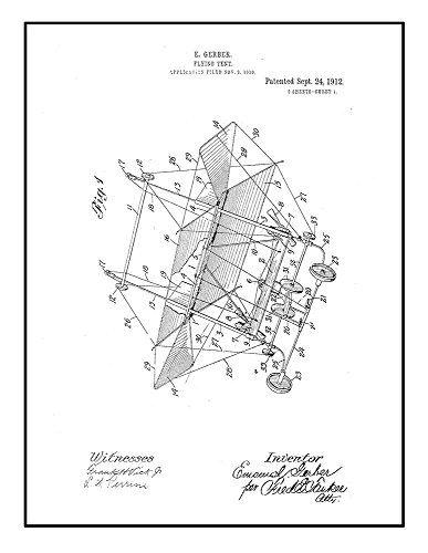 Flying-tent Patent Print Black Ink on White with Border  M15