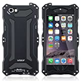 Wiseup™ IP68 Waterproof Heavy Duty Metal Case Protective Gorilla Glass Cover Shockproof Dirt Proof Snow Proof Supports Touch ID for iPhone 6 Plus 5.5'' (Black)