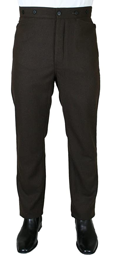 Steampunk Pants Mens High Waist Andover 100% Wool Dress Trousers $75.95 AT vintagedancer.com