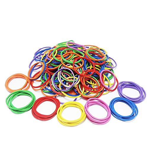 200Pcs Rubber Bands Bulk Elastic Wide Money Colored Rubber Bands Ring Stationery Holder Sturdy Strong Stretchable Band Loop School Home Bank Office Supplies (200Pcs, Small Multicolor 1.1