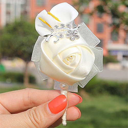 Ivory Artificial Boutonniere Corsage for Prom, Party, Wedding,Custom bouquet Color (Pack of 6)