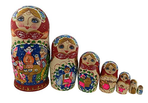 Vivid Cute Little Girl Family Dinner Handmade Wooden Russian Nesting Dolls Matryoshka Dolls Set 7 Pieces For Kid Toy Birthday Christmas Gift Home Deco…