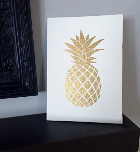 Gold Pineapple Print on Canvas Panel, Tropical Wall Decor - (Cottage Style Decor)