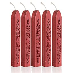 5Pcs Wine Red Manuscript Sealing Seal Wax Sticks Wicks For Postage Letter