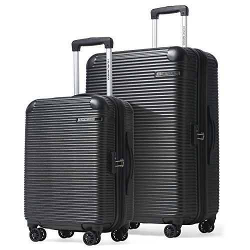 HONCARDO 2 Pcs Luggage Set 20 inch 28 inch Expandable ABS Spinner Travel Suitcase Light Weight Cabin Bag, Black by HONCARDO
