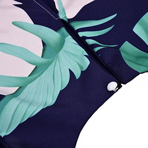 Tops Femme Vest Dbardeur Chemisier Col Rond Mode sans T Impression Manche Hem Shirt Bleu Chic Et Feuille Irrgulier Sexyville qCBX1wWfw