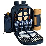 Picnic at Ascot Trellis Blue  Picnic Backpack for 4 with Blanket