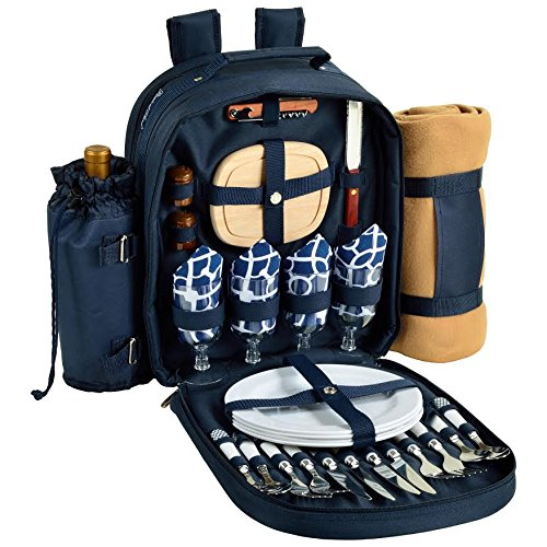 Deluxe Picnic Blanket - Picnic at Ascot - Deluxe Equipped 4 Person Picnic Backpack with Cooler, Insulated Wine Holder & Blanket - Trellis Blue