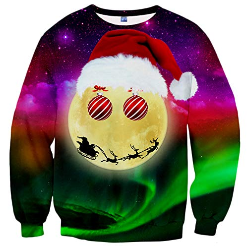 Hgvoetty Unisex Ugliest Christmas Sweater for Men Women Funny Xmas Party Sweatshirts XL