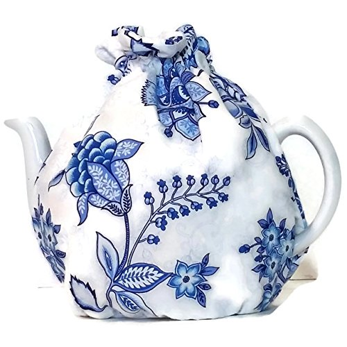 Teapot Cozy, tea warmer with Blue flowers on White for a 5-8 cup teapot #532 ()