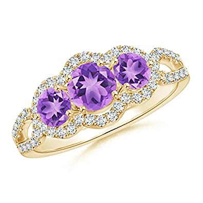 Angara Floating Amethyst Three Stone Infinity Shank Ring eHmVcaj