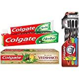 Colgate Herbal Toothpaste - 200 g with Swarna Vedshakti Toothpaste - 200 g and Slim Soft Charcoal Toothbrush