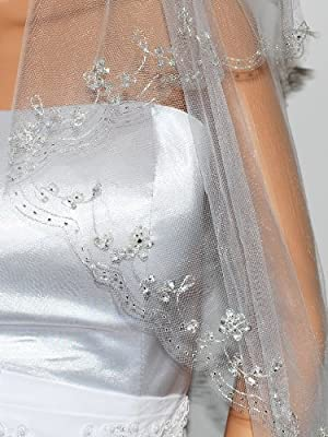 2T 2 Tier Silver Lined Beaded Edge Fingertip Length Bridal Wedding Veil VB9A3 by SparklyCrystal