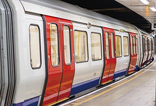 (OFILA London Underground Train Carriage Backdrop 6x4ft England Metro Platform Journey Subway Line Public Photos Railway Tourism Traffic Urban Transportation Travel Shoots Video Studio Props)