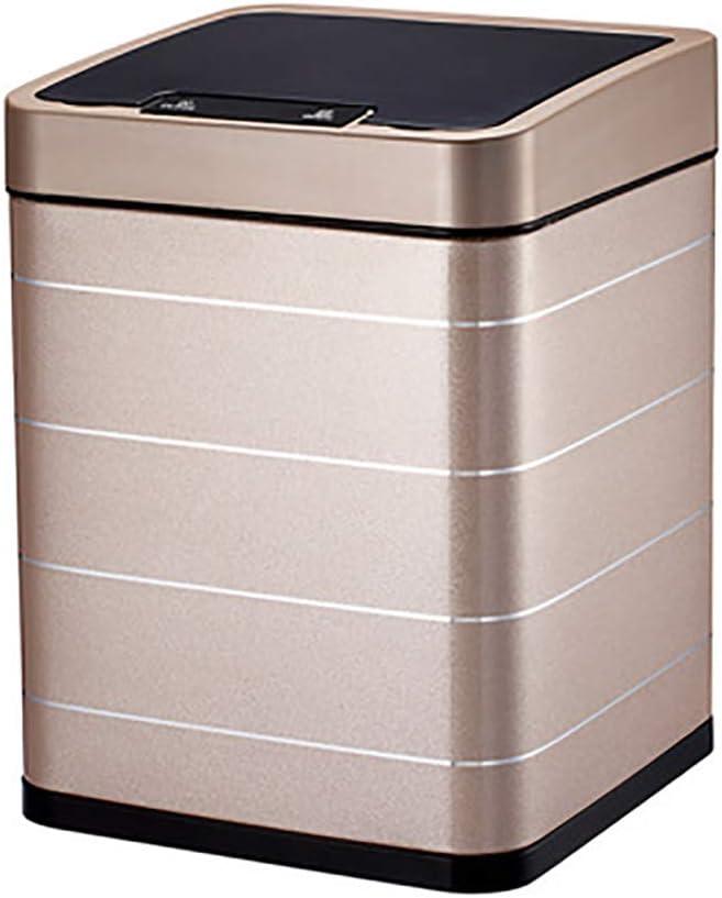 YBCD Contenedor de Basura de la Caja de Acero de Reciclaje Rectangular Rectificador de residuos/Sensor Inteligente // 10L Cocina/Dormitorio/Oficina/Cantina/Sala/Hotel-Grey: Amazon.es: Hogar