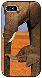 Mother and son elephant - iPhone 5 / 5s black plastic case / Animals and Nature, baby care
