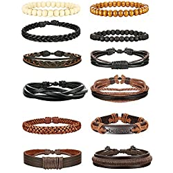 Jstyle 12Pcs Braided Bracelet for Men Beaded Bracelets Wrap Leather Wooden Bracelets Adjustable