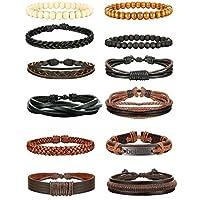 Jstyle 12Pcs Braided Leather Bracelet for Men Women Cuff Wrap Bracelet Adjustable Black and Brown