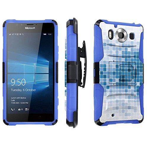 Photo - [SkinGuardz] Case for Microsoft Lumia 950 [Heavy Duty Ultra Armor Tough Case with Holster] - [Mosaic-White Blue]
