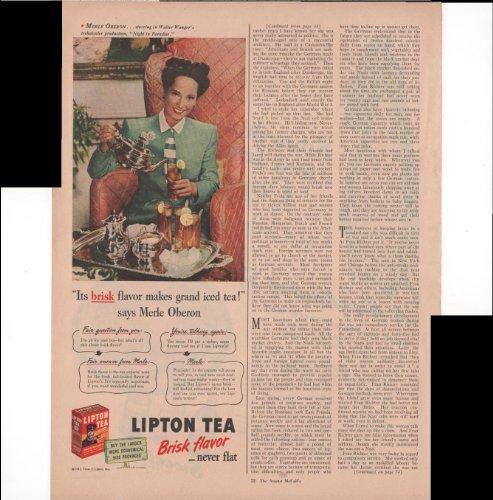 Lipton Tea Brisk Flavor Never Flat Its Brisk Flavor Makes Grand Iced Tea Merle Oberon 1945 Vintage Antique Advertisement