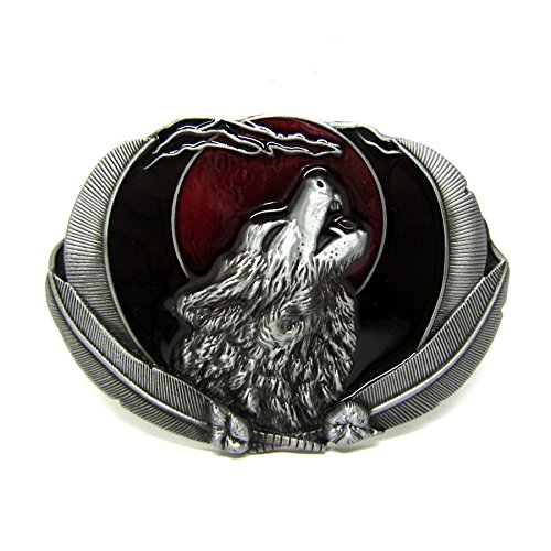 Howling Grey Wild Wolf Native Feather And Moon Belt Buckle Mens Western Cowboy (Wild Native Knife American Outdoors)