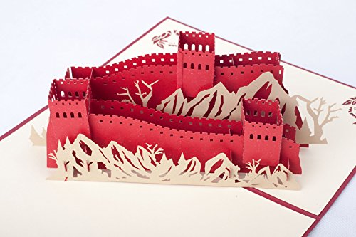 Paper Craft 3D Pop Up Card Great Gift Idea for Birthday Anniversary Friend Family (Great Wall Red)
