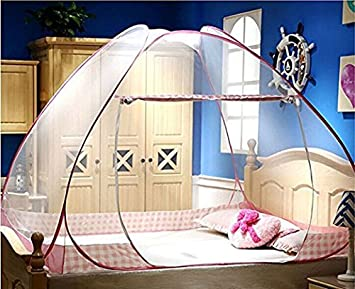 CdyBox Folding Yurt Mosquito Net Tent Canopy Curtains for Beds Kids Playpen Home Decor 1.5X2.0m, Pink