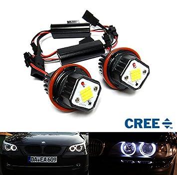 2 bombillas LED CREE LED Angel Eye Halo Anillo para faros delanteros 160 W para E39 E60 E61 E87 E53 E63 E65: Amazon.es: Coche y moto